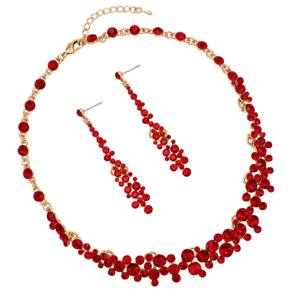 Crystal Teardrop Collar Necklace and Earrings Statement Jewelry Set (Red/Gold Tone)