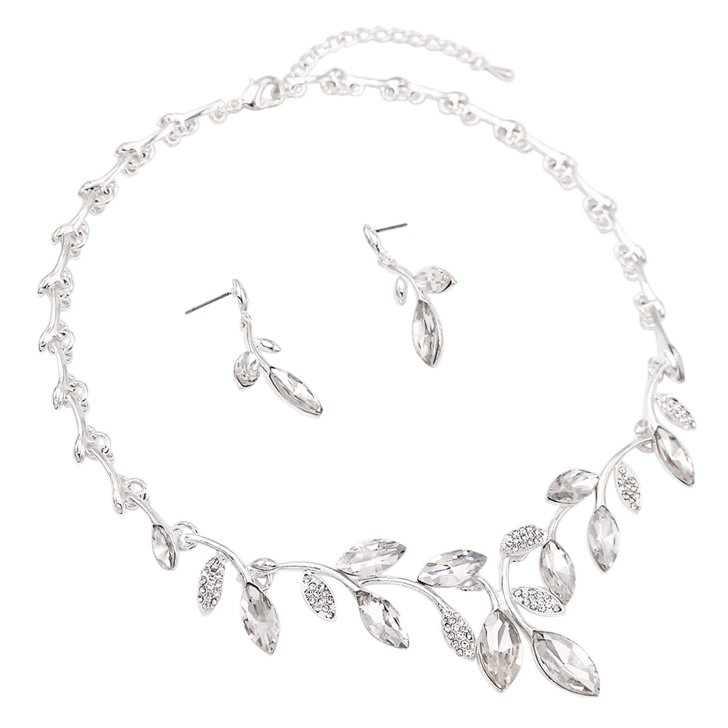 Elegant Marquis Design Crystal Adjustable Necklace and Earrings Set (Clear/Silver)