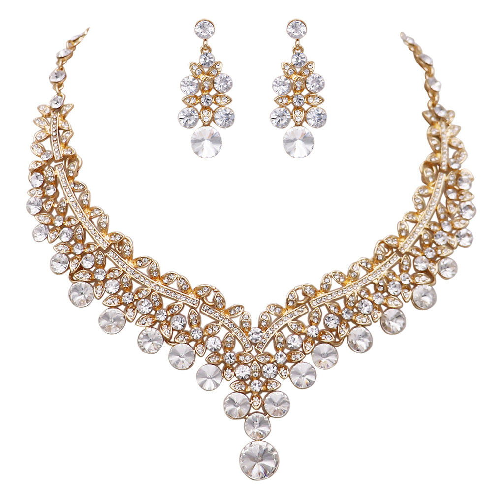 Bridal Jewelry Crystal Necklace Earrings Set