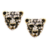 Crystal Accented Black Panther Tiger Leopard Earrings (Gold Tone)