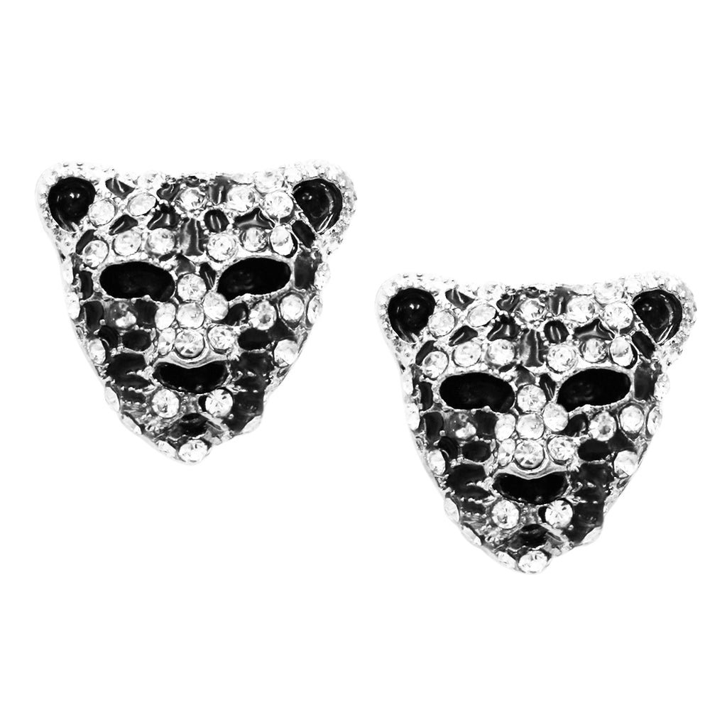 Crystal Accented Black Panther Tiger Leopard Earrings (Silver Tone)