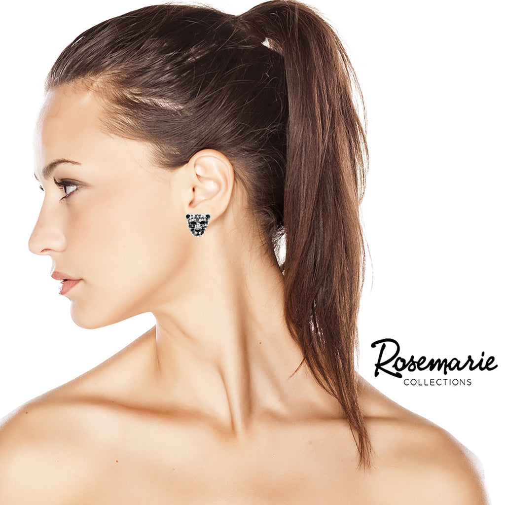 Rosemarie Collections Womens Crystal Accented Black Panther Tiger Leopard Post Back Earrings