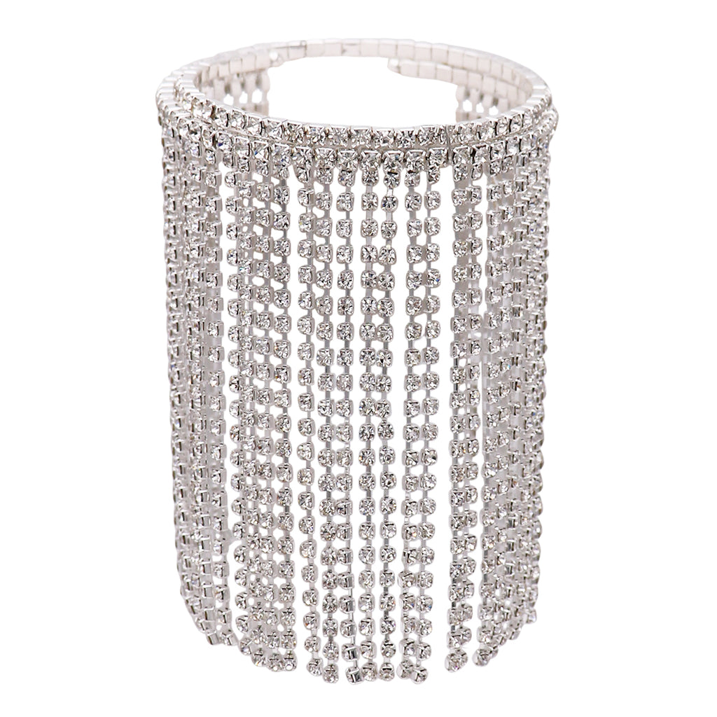 Upper Arm Band Rhinestone Fringe Coil Arm Cuff (Silver)