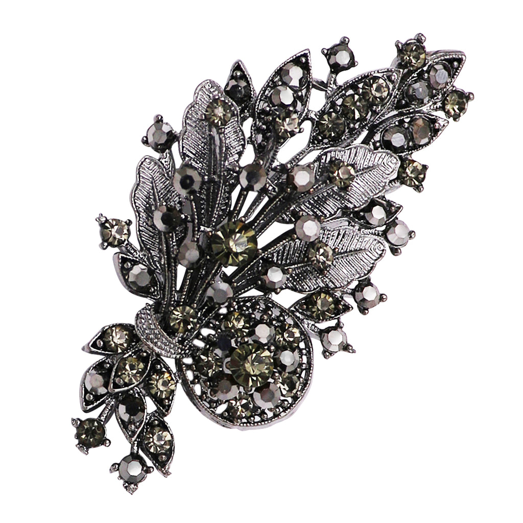 Statement Pendant Brooch Hematite Crystal Flower Leaf Bouquet Pin