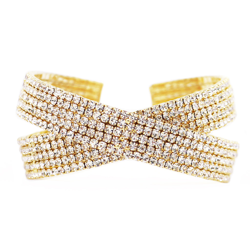 Criss Cross Rhinestone Statement Cuff Bracelet (Gold)