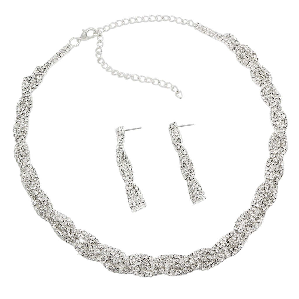 Braided Rhinestone Collar Necklace Drop Earrings Set