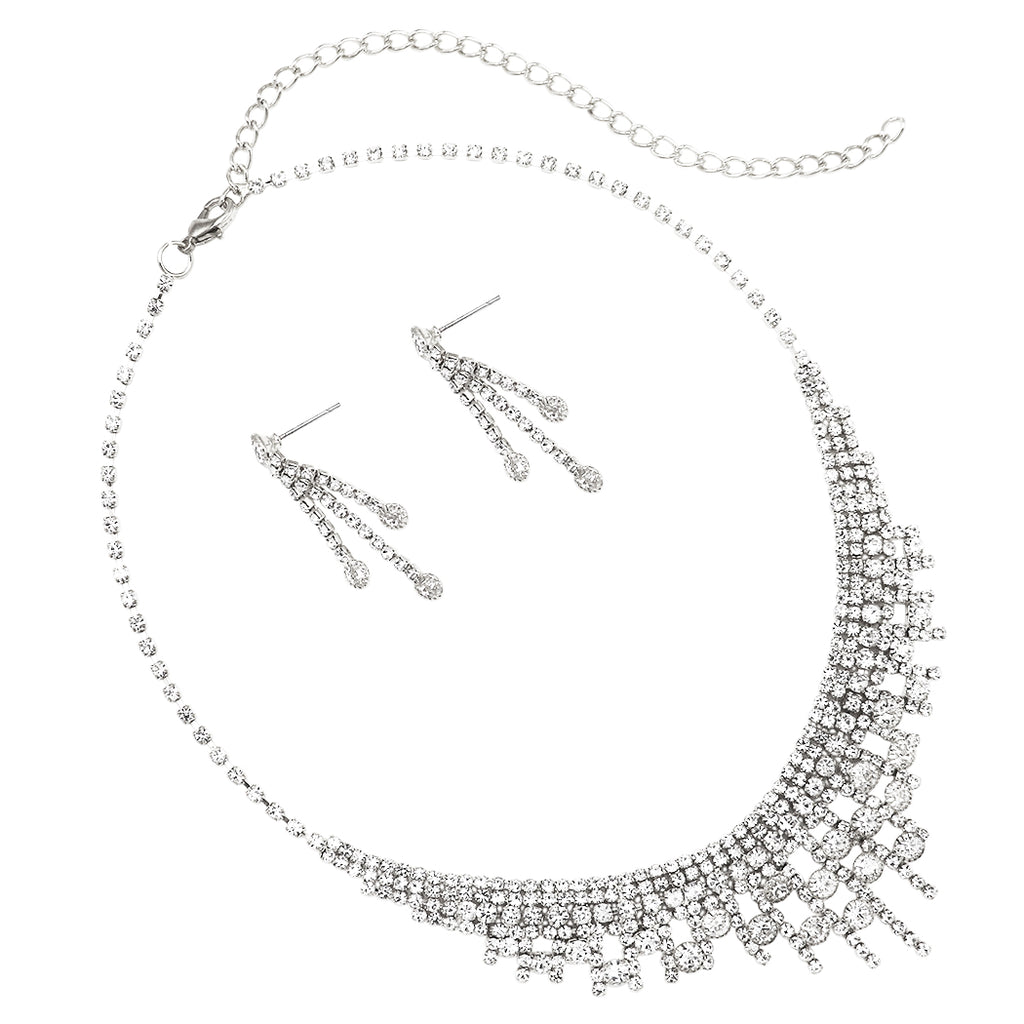 Stunning Adjustable Rhinestone Bridal Necklace and Earrings Jewelry Set (Silver)