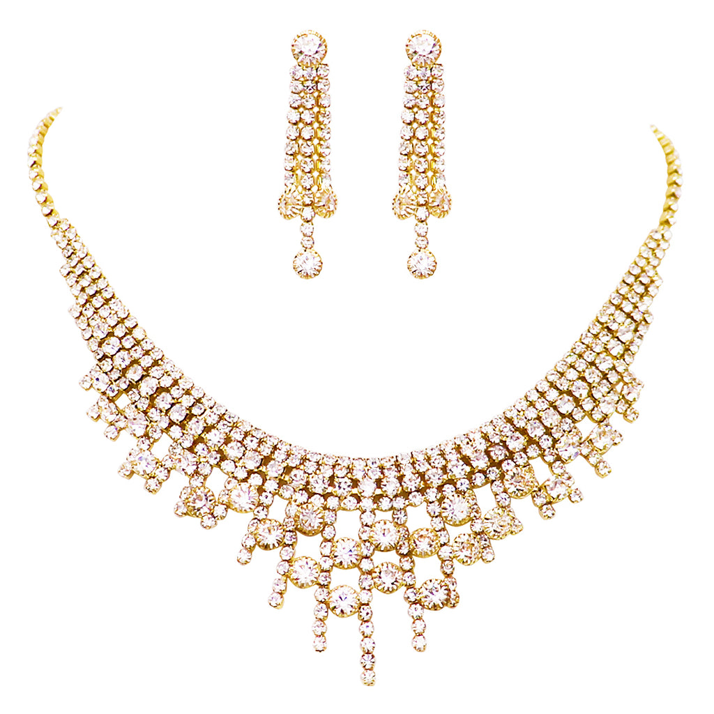 Stunning Adjustable Rhinestone Bridal Necklace and Earrings Jewelry Gift Set (Gold)