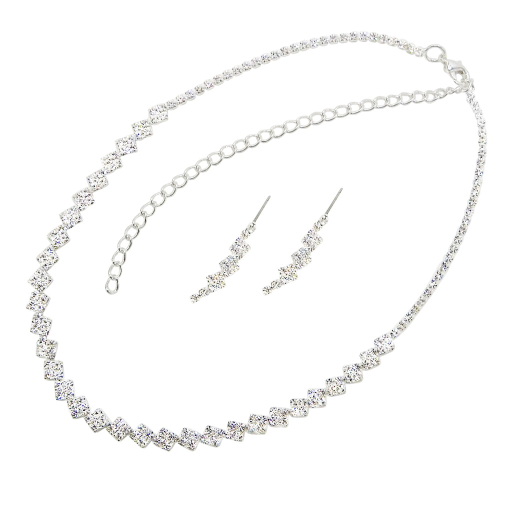 Square Pattern Crystal Strand Necklace Jewelry Set