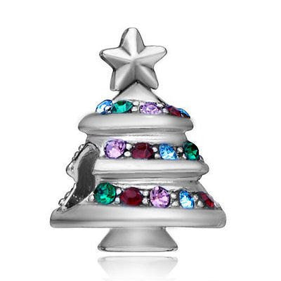 Christmas Tree with Multi Color Rhinestones- Fits All European Charm Bracelets
