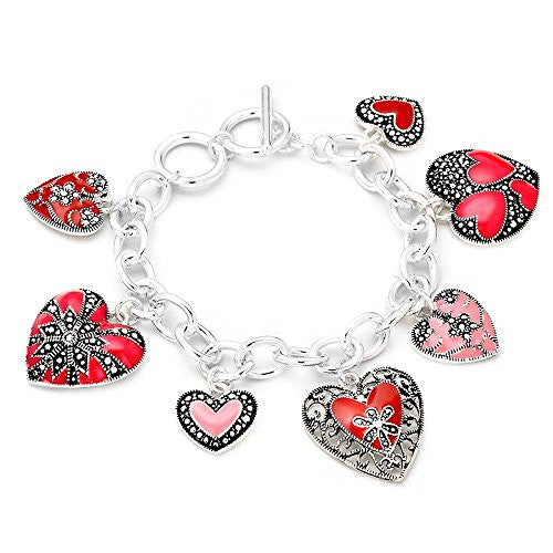 Heart Charm Bracelet Rhinestone Accented Red, Pink, Silver Color