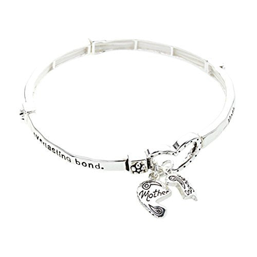 Mother Daughter Heart Charm Bangle Bracelet
