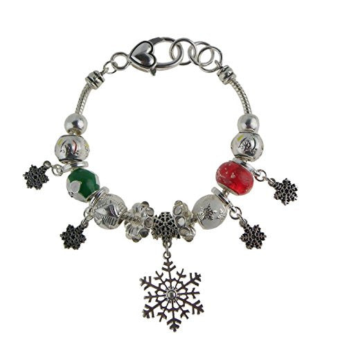 Silver Color Winter Theme  Style Bracelet with Snowflake Dangle Charms