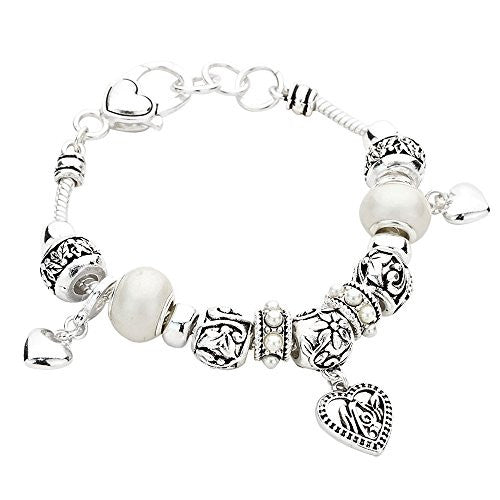 Silver And White Pandora Style Mom Heart Charm Bracelet