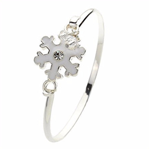 Winter Snowflake Crystal Charm Bangle Bracelet