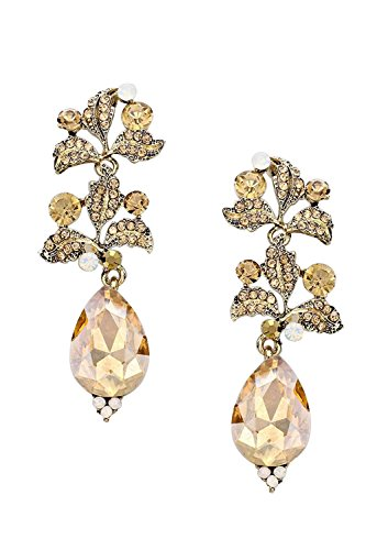 Evening Earrings Leafy Crystal Drop Light Topaz Color