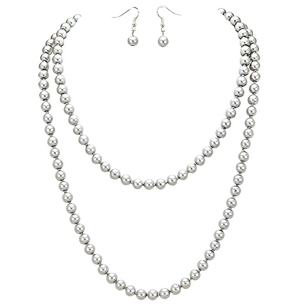 Silver Tone Glass Faux Pearl Necklace Earring Set