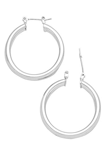 Stylish Hinged Post Hoop Earrings Silver Tone