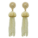 Statement Earrings Faux Pearl Beaded Tassel