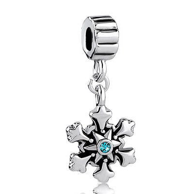 Snowflake March Births Aquamarine Crystal Charm Spacer Dangle- Fits All European Charm Bracelets