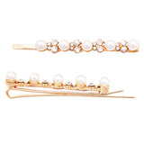 Crystal Hair Clip Rhinestone Bobby Pins Hair Accessories with 4.5mm Simulated Pearl (Gold Tone)