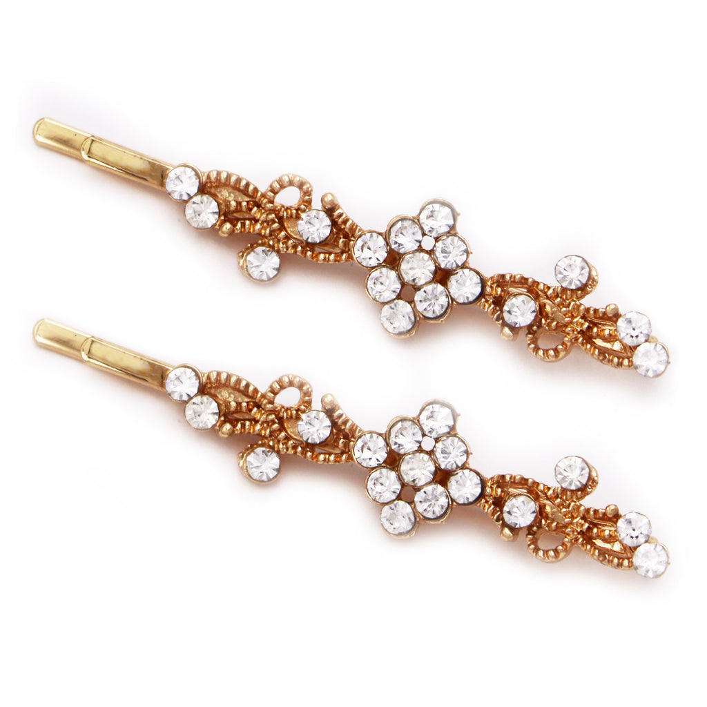 Swirls Round Crystal Hair Clip Rhinestone Bobby Pins Hair Accessories (Clear/Gold Tone)