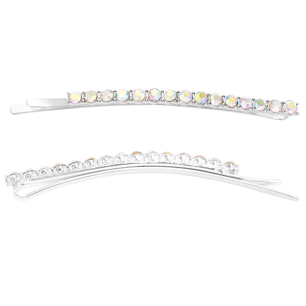 Crystal Hair Clip Rhinestone Bobby Pins Hair Accessories Long Length Round 4mm (AB Crystal)
