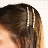 Crystal Hair Clip Rhinestone Bobby Pins Hair Accessories Round Long Length (Gold Tone)