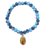 Our Lady of Guadalupe Beaded Stretch Bracelet (Light Blue)