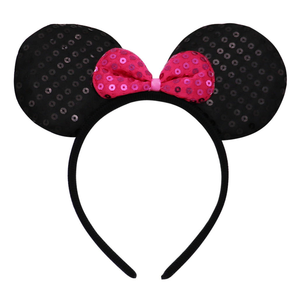 Rosemarie Collections Fun Fashion Comfort Fit Statement Mouse Ears Headband (Hot Pink)