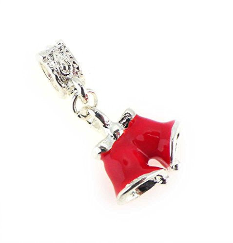 Red Christmas Bells Dangle  Style Charm Bead