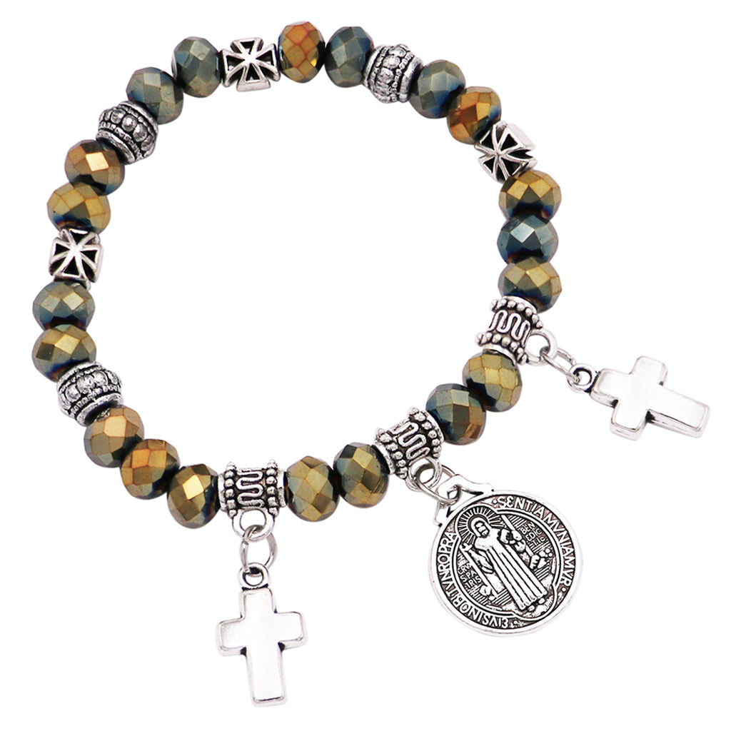 Religious Beaded Stretch Bracelet with Saint Benedict Bracelet Medal and Cross Charms (Hematite)
