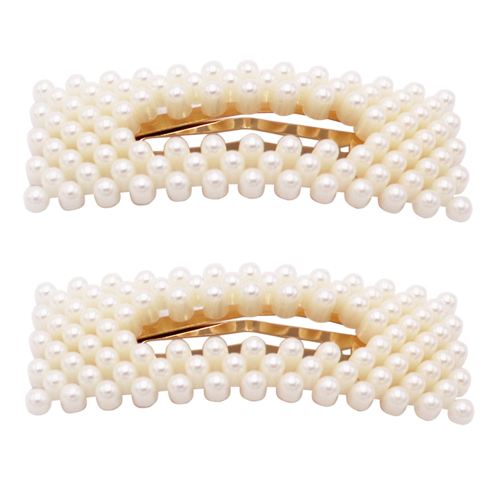Hair Barrettes No Slip Snap Clip With Simulated Pearl (Gold Tone)