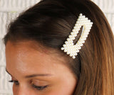 Hair Barrettes No Slip Snap Clip with Simulated Pearl (silver tone)