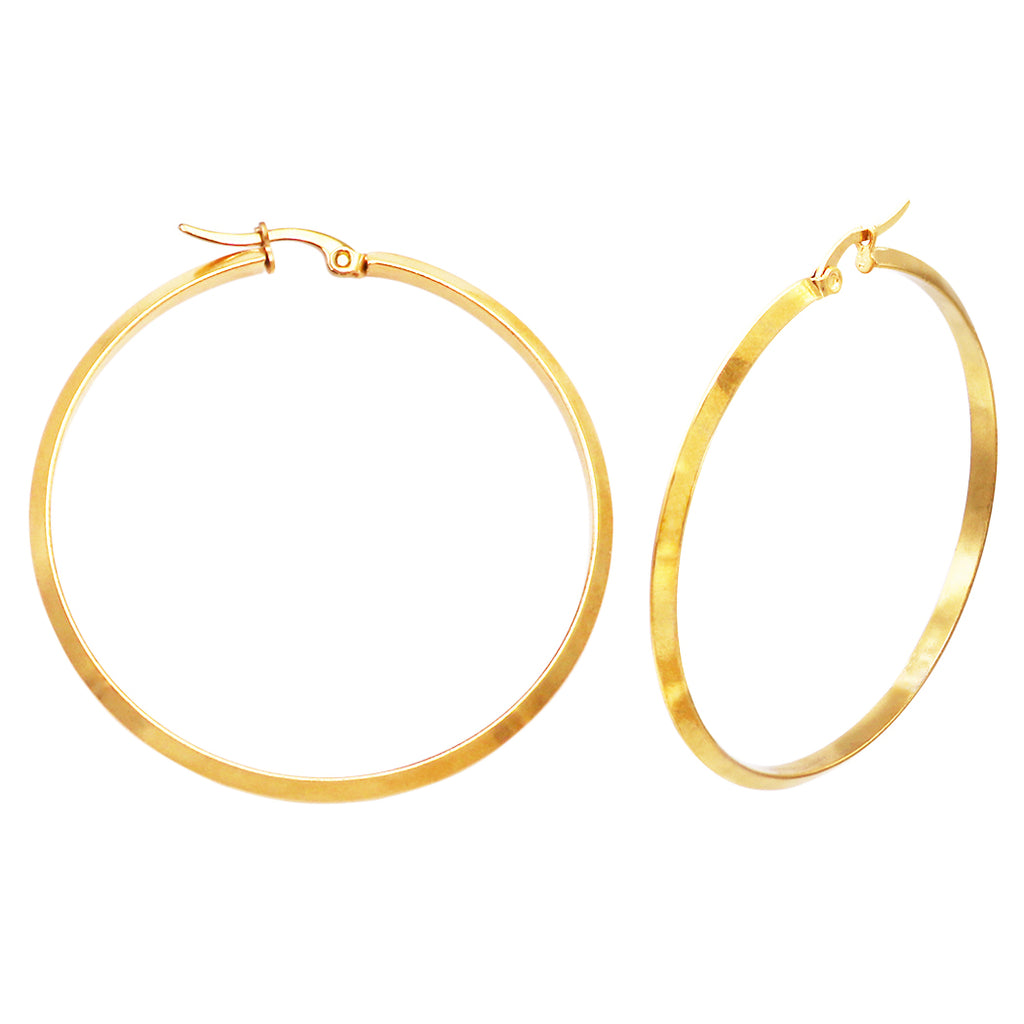 Stylish Stainless Steel Gold Tone Hinged Post Hoop Earrings 50mm
