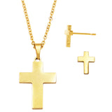 Stainless Steel Cross Charm Necklace and Earrings Set (Gold Tone)