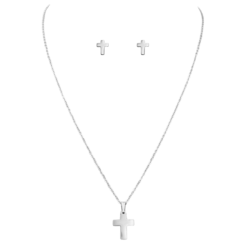 Stainless Steel Cross Charm Necklace and Earrings Set (Silver Tone)
