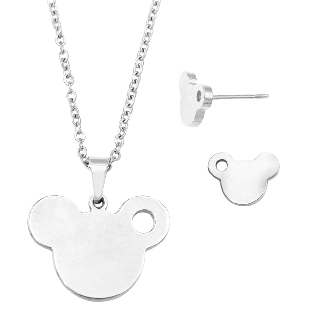 Stainless Steel Mouse Head Charm Necklace and Earrings Set (Silver Tone)