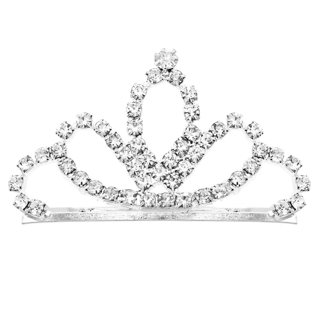 Petite Mini Princess Crystal Tiara Hair Comb Crown (Marquise Silver Tone)