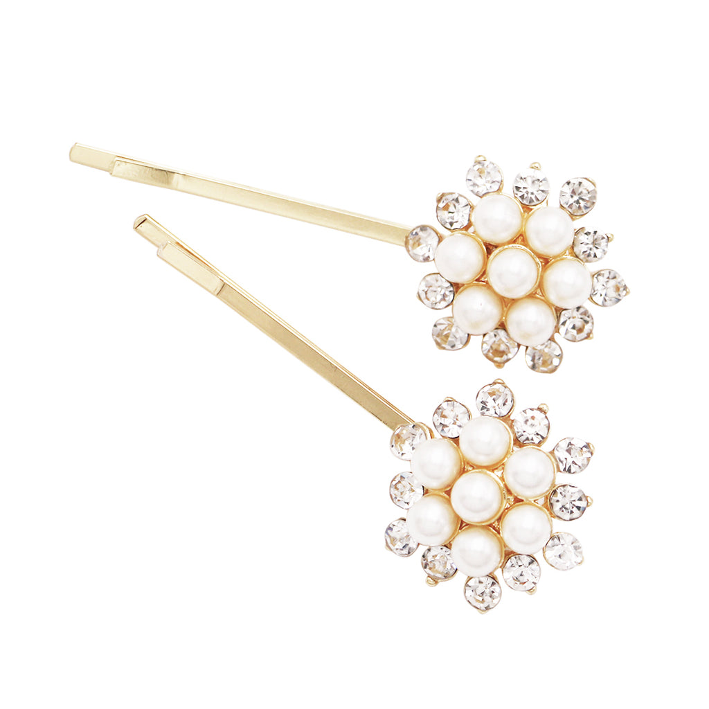 Trending Simulated Pearl and Rhinestone Hair Clip Bobby Pins Gold Tone, 2.25""