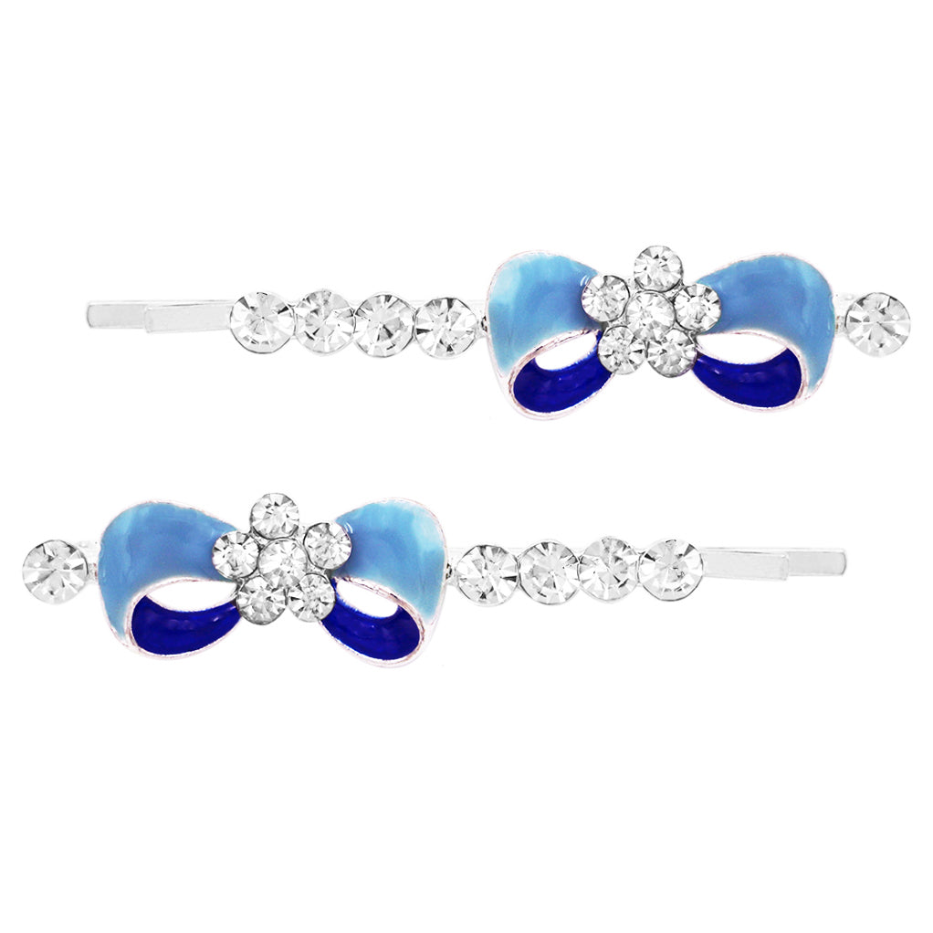 Colored Enamel Bow Bobby Pins Hair Clip Barrette Accessories (Blue/Dark Blue)