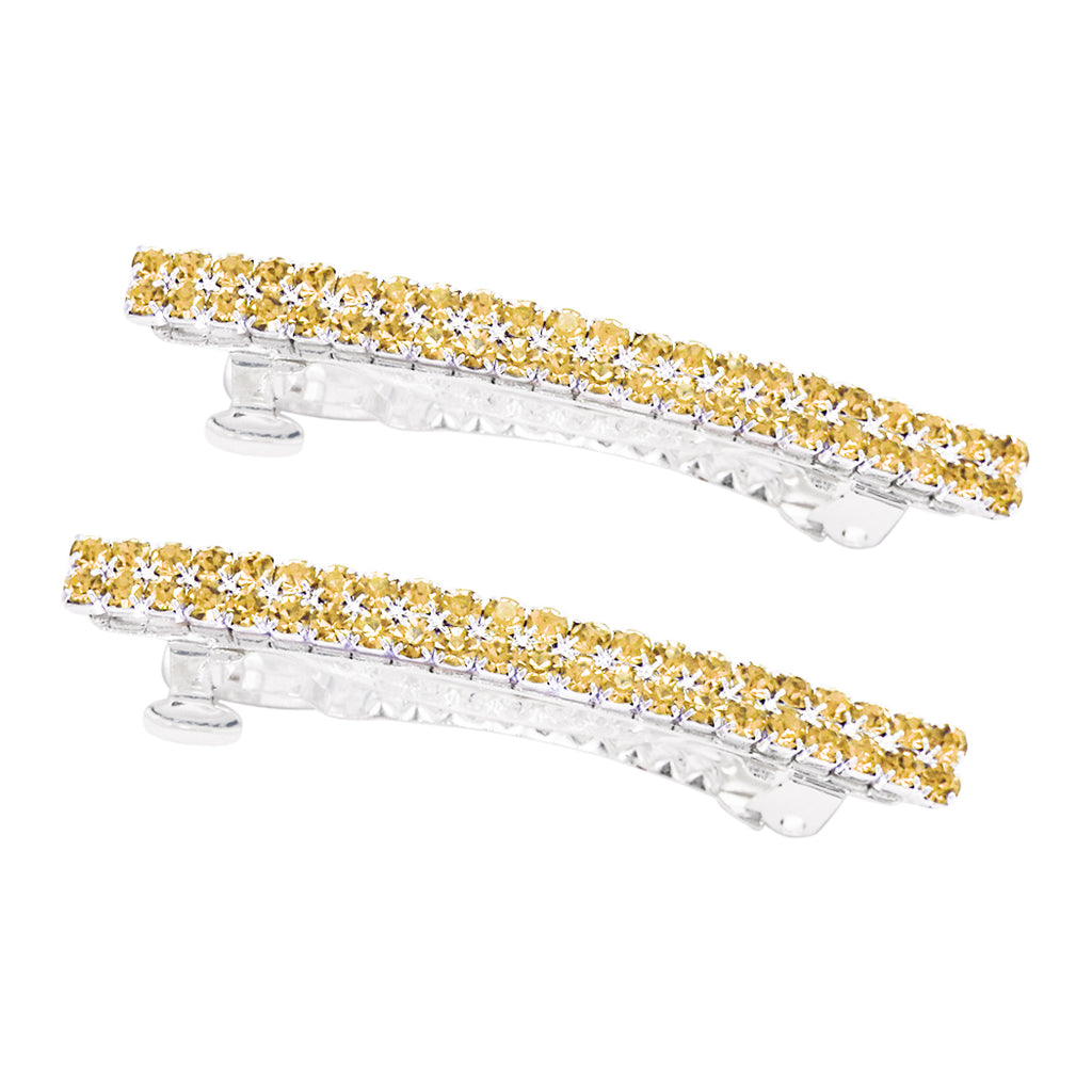 1 Pair of Classic Style Double Row Crystal Hair Clip Barrettes (Topaz)
