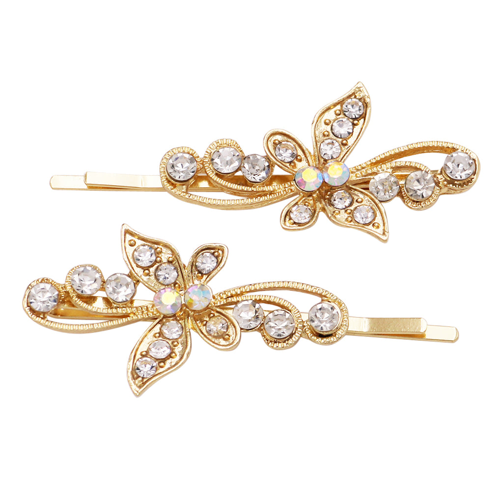 Hair Accessories Crystal Butterfly Bobby Pins (Swirl Gold)