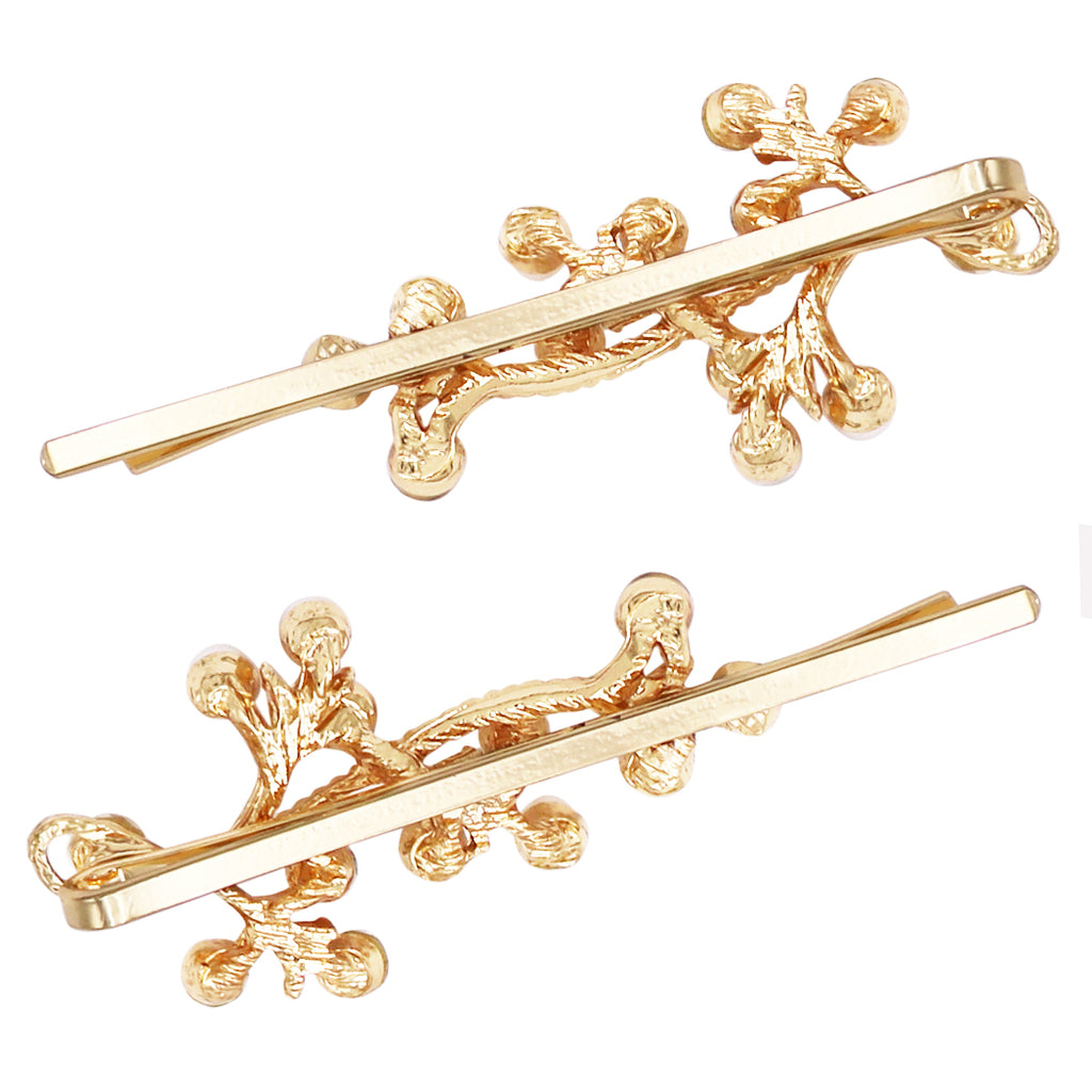 Decorative Crystal and Simulated Pearl Twisted Vine Bobby Pins Hair Barrette Accessories (Simulated Pearl/Gold Tone)