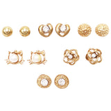 and Girl's Set of 6 Whimsical Kitty Cat Hearts Flowers Earrings (Gold Tone)
