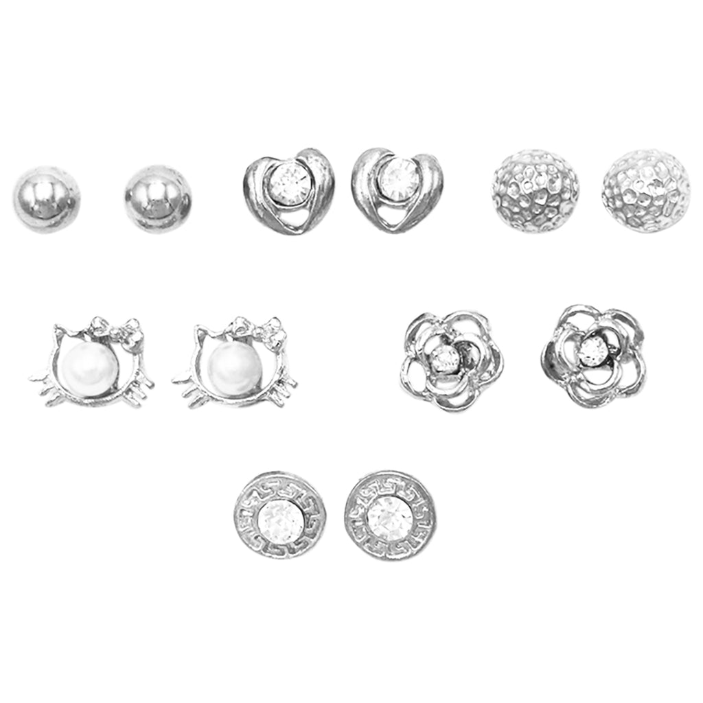 and Girl's Set of 6 Whimsical Kitty Cat Hearts Flowers Earrings (Silver Tone)