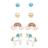 and Girl's Whimsical Enameled Rainbows and Unicorns Earrings Set of 4 (Aqua)