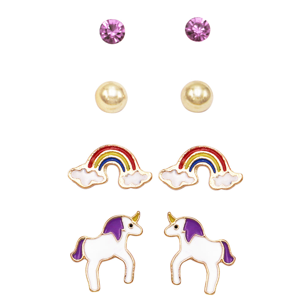 and Girl's Whimsical Enameled Rainbows and Unicorns Earrings Set of 4 (Purple)
