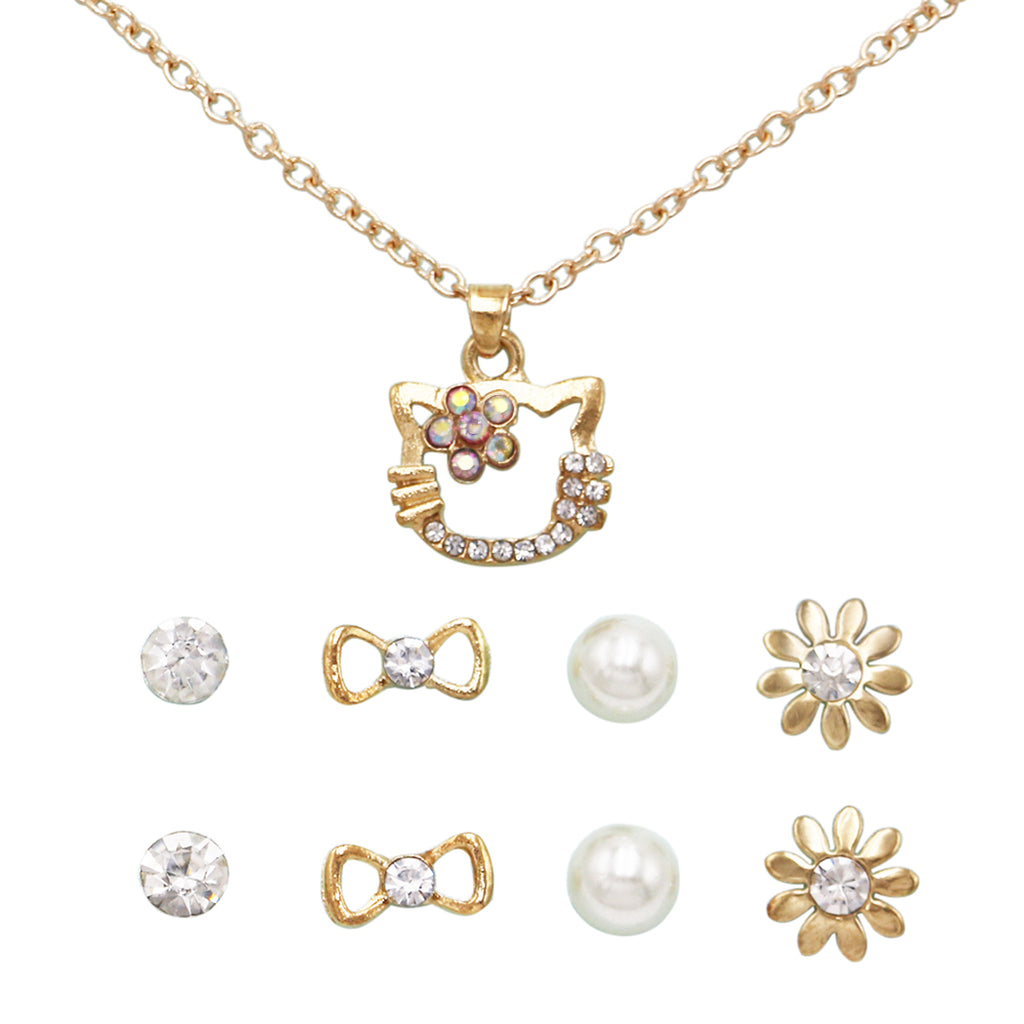 and Girl's Crystal Rhinestone Kitty Cat Necklace and 4 Pairs Earrings Jewelry Set (Clear/Gold Tone)