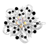 Crystal Hair Clip Rhinestone Barrette Hair Accessories Large Single Flower (Black/Silver)